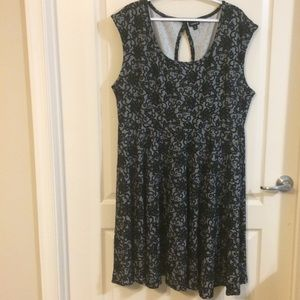 Torrid Knit Dress Black Lace-Look Print Size 3X